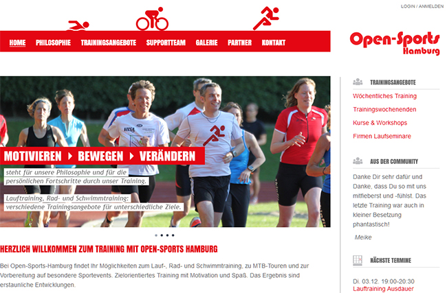 Screenshot Open Sports Hamburg